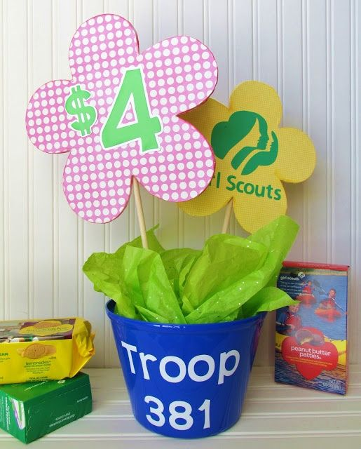 Girl Scout Cookie Booth Decorations use existing jar for donations, but put stick sign in it