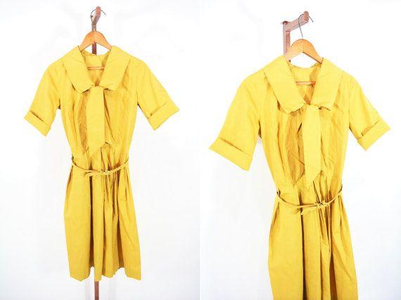 1960s shirt dress 60s mustard yellow ascot by StorylandVintage