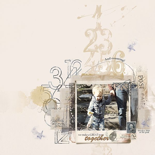 And counting is a digital scrapbook page I (Margje) made of my family and grandchild. I used: ArtPlay Palette Together   TogetherScripted No. 1   FotoInspired Masks No. 2   Numbered Overlays No. 2   WatercolorStars No. 1   UrbanStitchez Korners No. 1   All Anna Aspnes