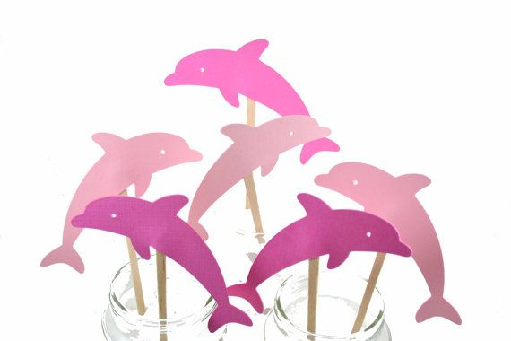 Pink Dolphin Cupcake Toppers--Pink Dolphin Birthday Party-Pink Dolphin Invitation