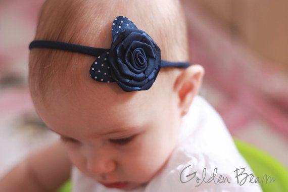 Baby Headbands - Navy Rose With Polka Dot Leaves Handmade Headband on Etsy, $9.06