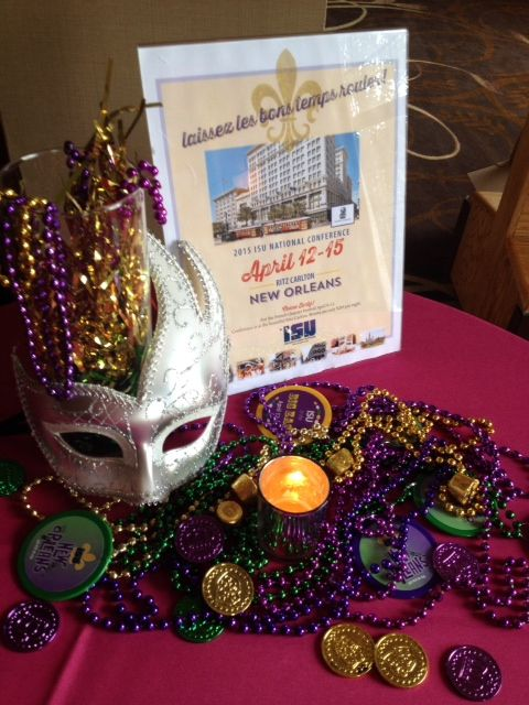 Mardi Gras themed decoration to announce ISU's 2015 National Conference
