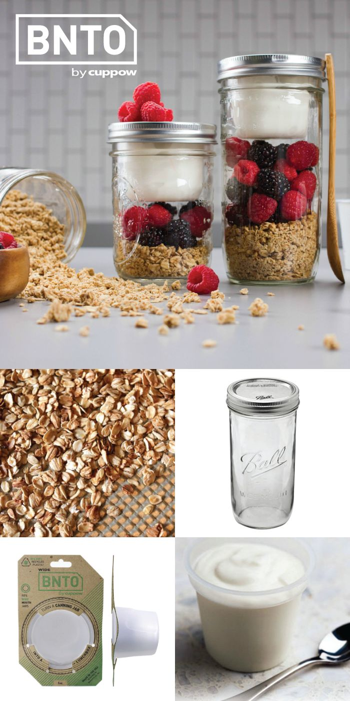 BNTO separates wet stuff from dry stuff in a mason jar so you can take healthy snacks on the go  Think yogurt and granola  salad and dressing  or veggies and dip  This clever cup was inspired by the utility of Japanese bento boxes and is made in the USA from 100  recycled plastic   Also  Free Shipping