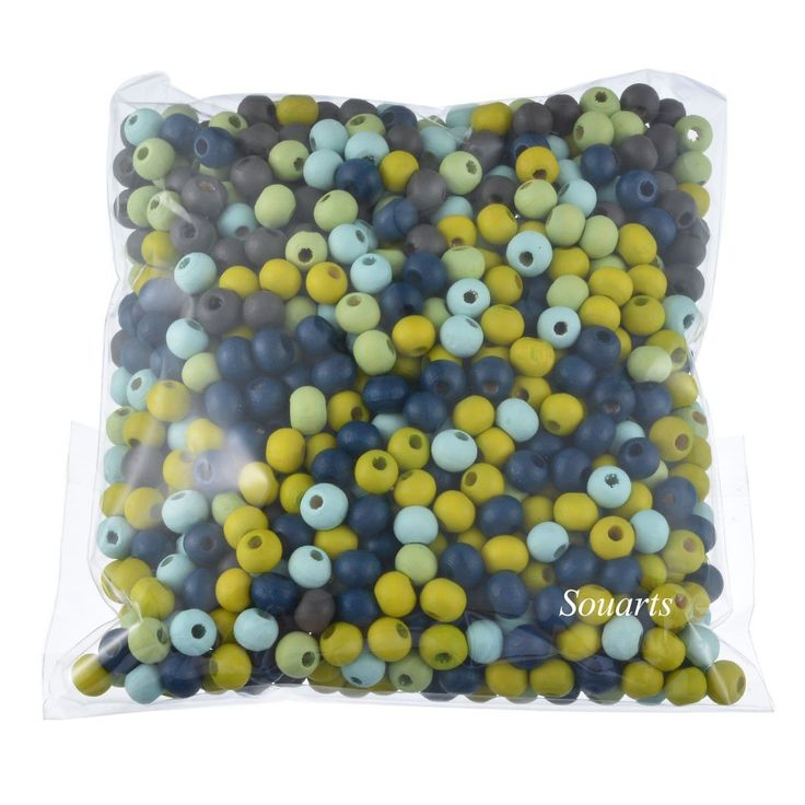 Souarts Mixed Color Round Ball Shape Wooden Loose Beads Pack of 1000: Amazon.co.uk: Kitchen & Home