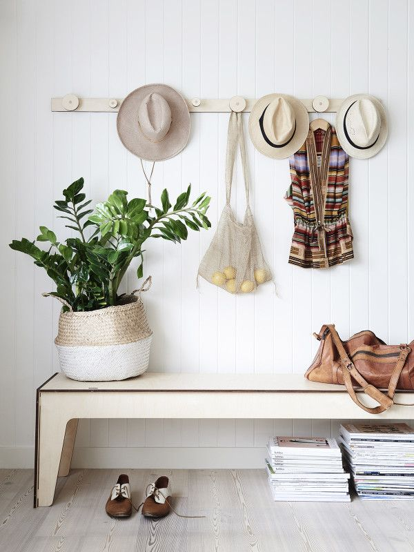Hang On coat rack and Panca Corta bench seat from Plyroom. Photo – Eve Wilson. Styling – Jacqui Moore/Greenhouse Interiors.