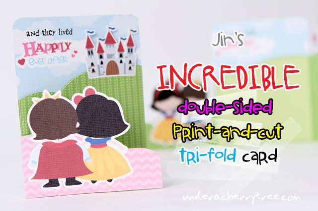 Under A Cherry Tree: Jin's INCREDIBLE double-sided, print-and-cut, tri-fold card
