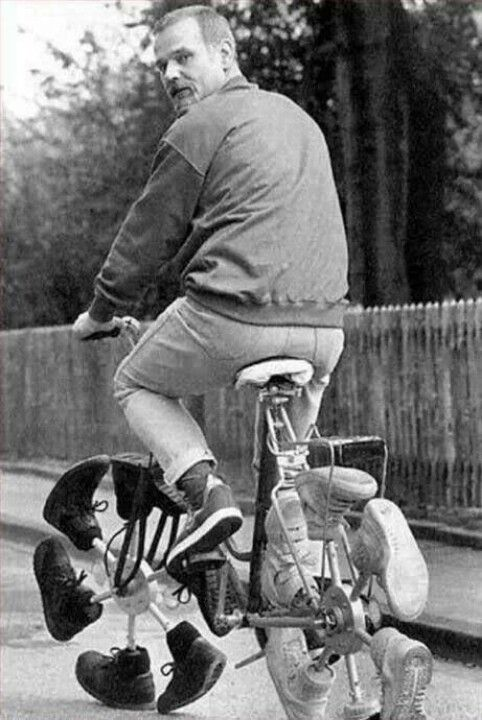 Bicycle with boot tires - crazy old invention