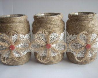 Tarro de arpillera de boda rústica decoración de boda