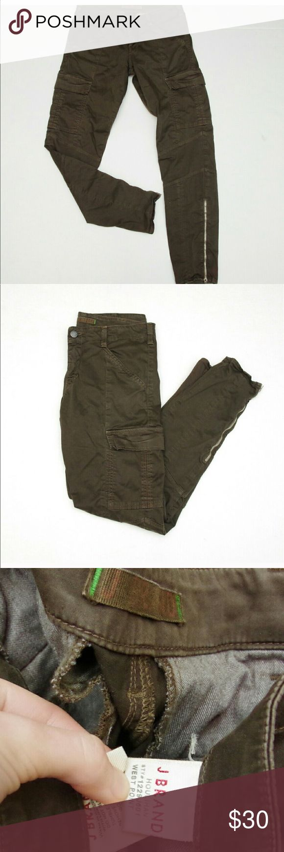 Jbrand forest green cargo pants They have side zippers on leg very comfy pretty stretchable fits a size 11/12 J Brand Jeans Skinny