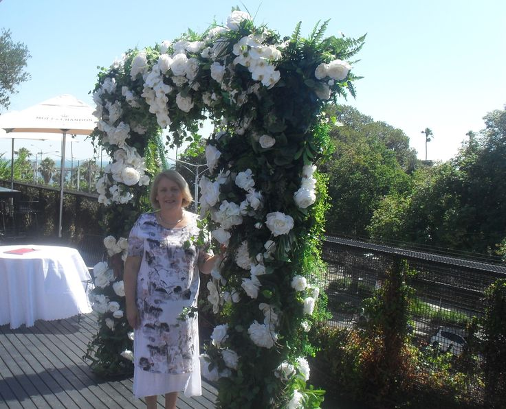 At the Circa, with the floral arbour for the Ceremony.