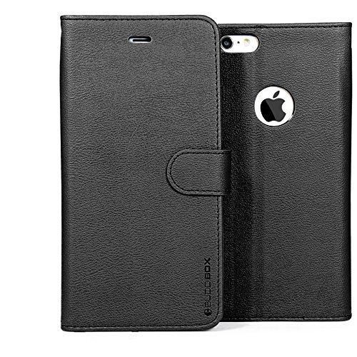 BUDDIBOX iPhone 6s Case [Wallet Case] Premium PU Leather Wallet Case with [Kickstand] Card Holder and ID Slot for Apple iPhone 6S / 6 (Black)