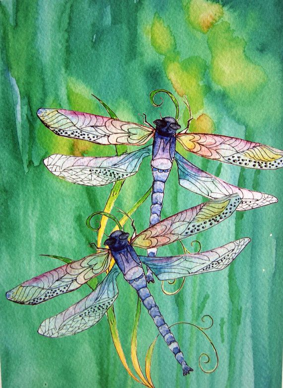 Dragonfly and Daffodils Watercolor Painting by MarilynKJonas, $16.00