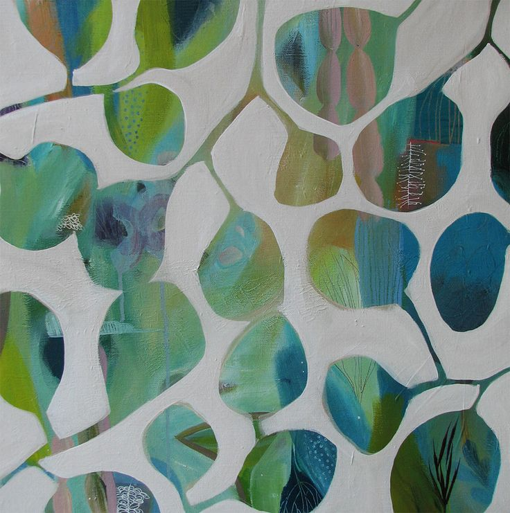 garden pods 1  by tiel seivl-keevers  acrylic and ink on linen