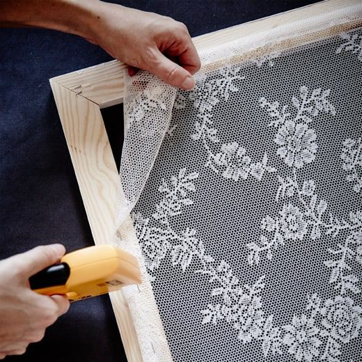 Make Your Own Lacy Curtain Frame