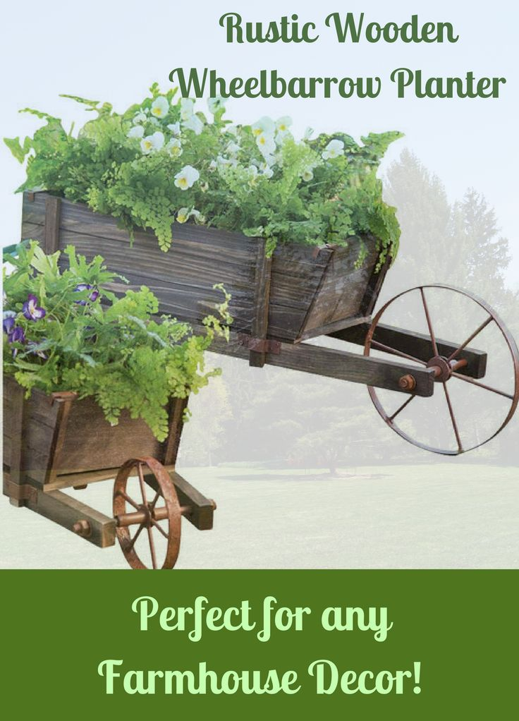 Doesn't matter what I put in this rustic wheelbarrow-blooming flowers on the patio, lush greenery on the porch or even veggies in the garden-they're going to look great! #ad #wheelbarrow #planter #garden #gardening #flowers #veggies #vegetables #patio #porch