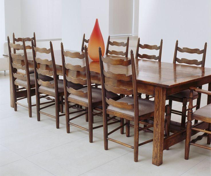 Waveline Ladderback Chairs -  French Oak