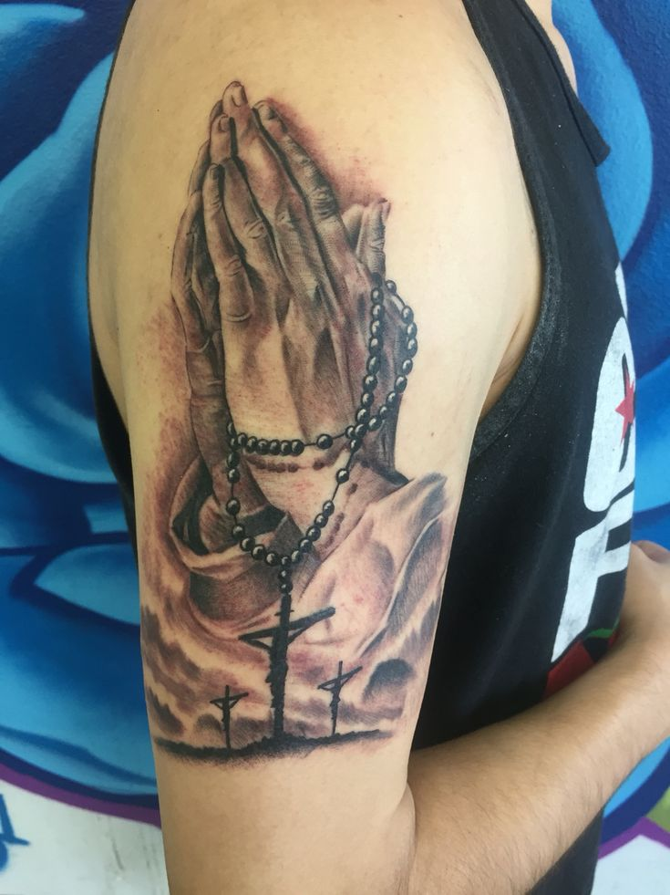 "Praying hands with rosary by Adam Lerma ""Sinner"" at Art & Ink Tattoo Studio in Indio California  IG @lerma52 @artnink @desertinktv"
