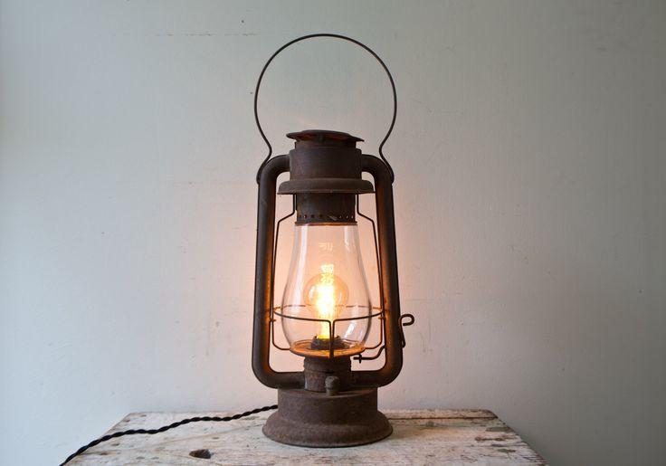 Vintage Brown Lantern Light Rusty Lantern Lamp Thew Cyclone Kerosene Lantern Electric Plugin Antique Handmade Industrial Desk Light Rare by whiskyginger on Etsy https://www.etsy.com/listing/246616511/vintage-brown-lantern-light-rusty