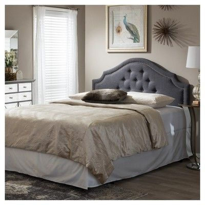 Cora Modern And Contemporary Fabric Upholstered Headboard - Queen - Dark Grey - Baxton Studio