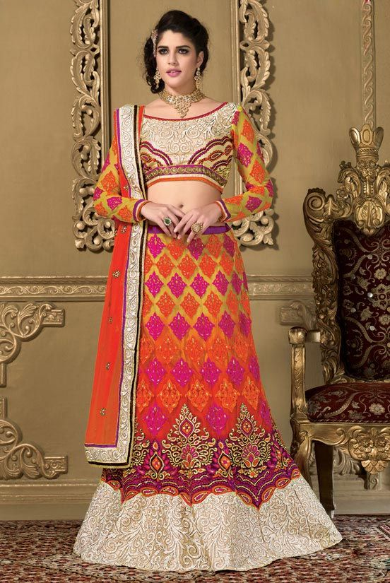 Deep Orange & Yellow #Lehenga #Choli Set #ethnic Product Code - SM003SA. visit: http://on.fb.me/1rYXVQc  for more detail.