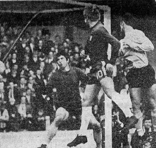 Chelsea 3 Ipswich Town 1 in Oct 1968 at Stamford Bridge. Billy Baxter heads into his own net for a Chelsea goal in the Division 1 clash.