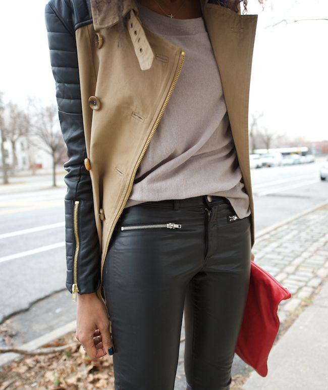 ★: Leather Sleeve, Biker Jackets, Style, Trench, Leather Jackets, Leather Legs, Leather Pants, Red Clutches, Zippers