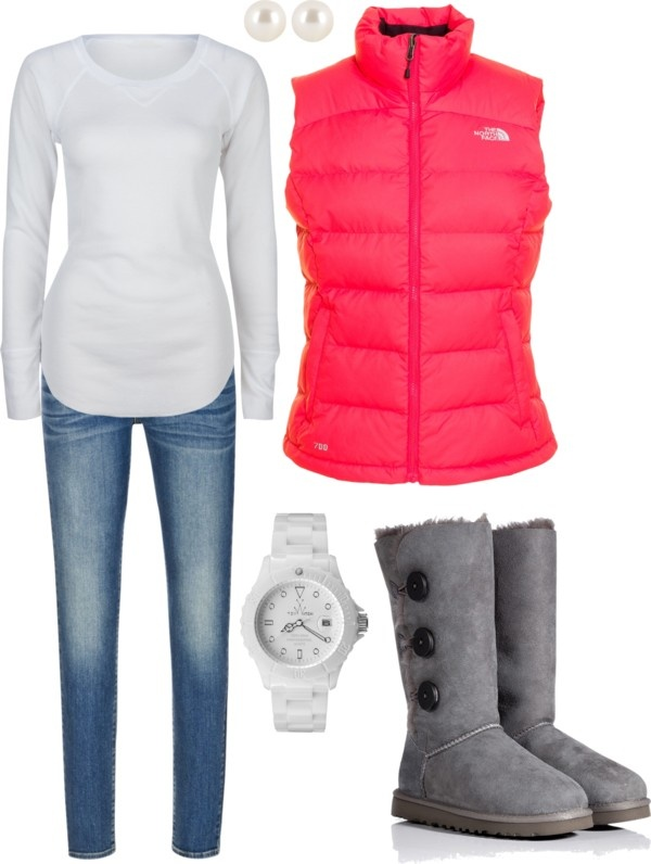 White thermal, pink puffer vest, skinny jeans, UGGs