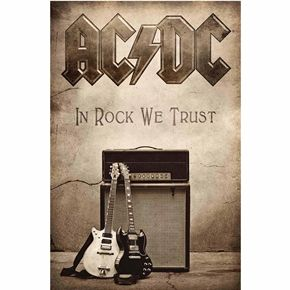 Official AC/DC fabric poster flag featuring In Rock We Trust design.