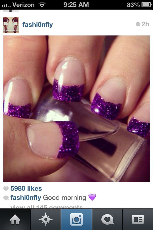 Purple glitter French manicure...finally found my next nail design :)