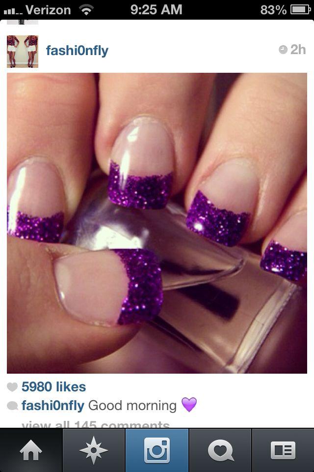 Purple glitter French manicure...finally found my next nail design :)