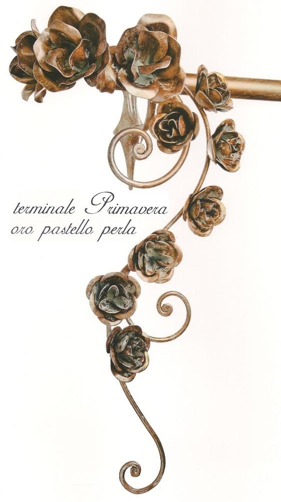 Bastone per tenda con fiori in ferro battuto mod. PRIMAVERA