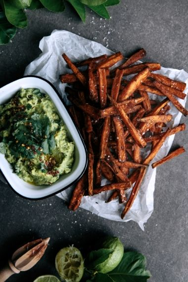 Spicy Sweet Potato Fries with Coconut & Lime Avocado  |  Gather & Feast