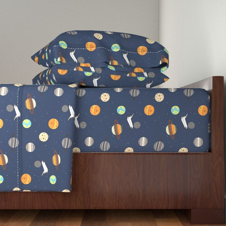 Langshan Sheet Set featuring Space Shuttle Planet Exploration by jannasalak | Roostery Home Decor