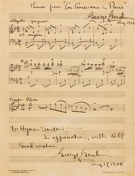 GERSHWIN, George Autographed musical manuscript Estimate $6,000