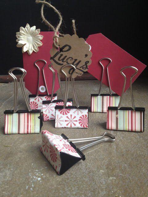 inspiring DIY labels : Using washi taped binder clips