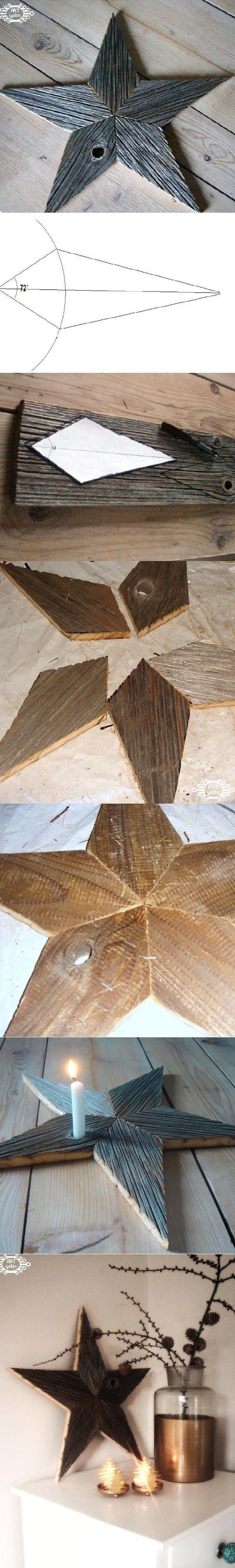 gwiazda ze starej deski-star from the old boards http://ystinowo.blogspot.com/2013/12/pomys-na-gwiazde-z-deski-diy.html
