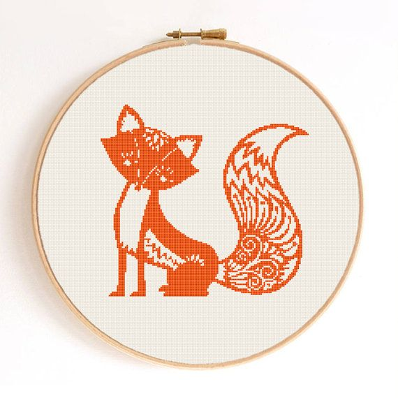 Ornament Fox Silhouette Counted Cross Stitch by SimpleSmart