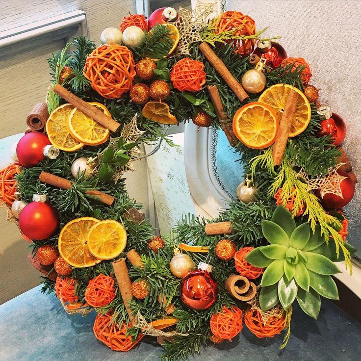 """Купить Новогодний венок """"Апельсин"""" - Новый Год, новогодний декор, новогодний венок"""