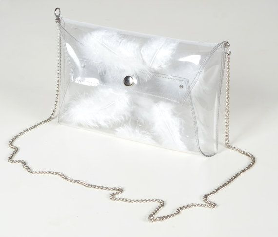 Clear transparent clutch bag purse bag white real by YPSILONBAGS