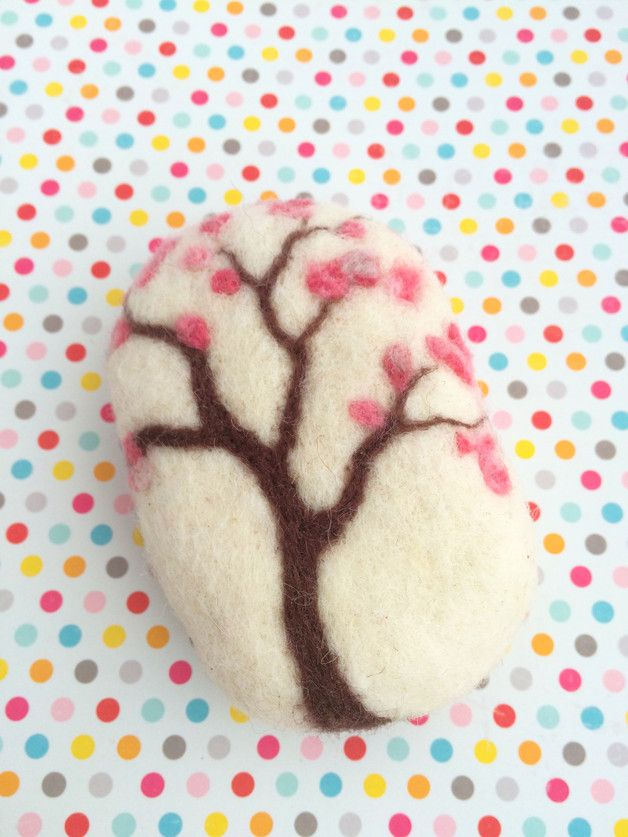 Felted wool soap cherry-tree