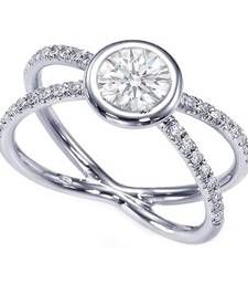 Buy Cara orbit style soltaire stone ring made in sterling silver and swarovski stone for women Ring online