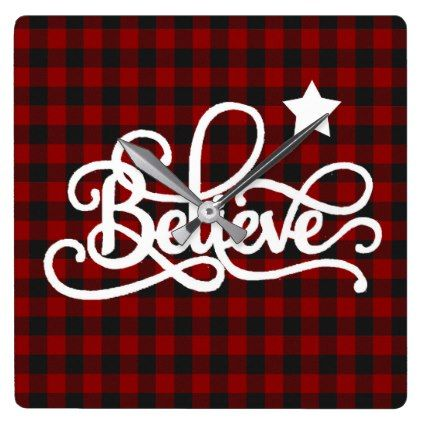 Believe with star square wall clock - holidays diy custom design cyo holiday family