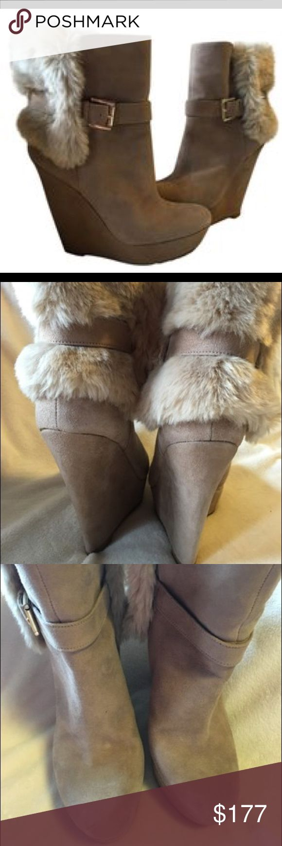 Nine West suede platform faux fur adj gold buckle Stunning platform suede leather with faux fur, adjustable gold buckles, beautiful! Never worn Nine West Shoes Ankle Boots & Booties