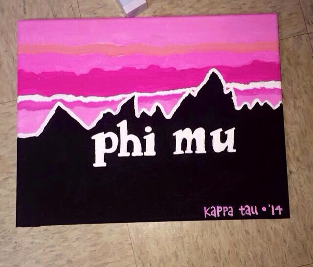 Patagonia inspired Phi Mu canvas with chapter name and pledge year.