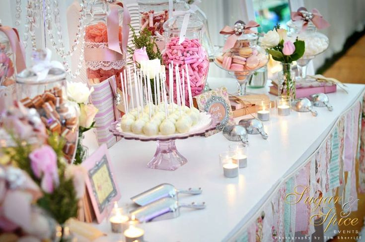 Pink and White Lolly Buffet Sugar & Spice Events - Lolly Buffets and Candy Bars www.sugarandspiceevents.com.au