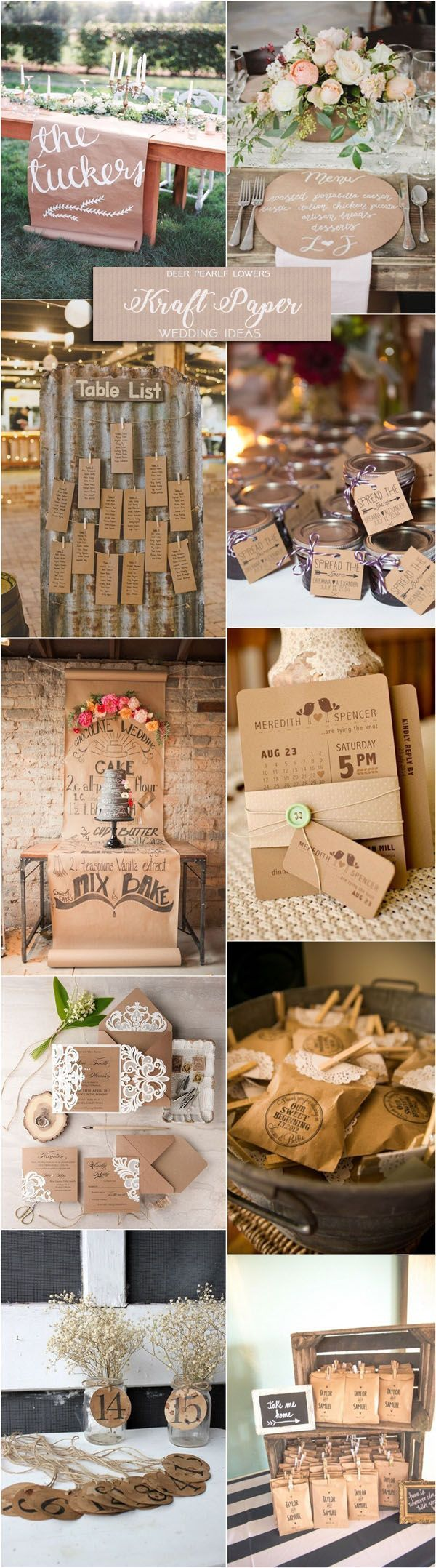 Rustic country wedding ideas - kraft paper wedding invitations & decor ideas / http://www.deerpearlflowers.com/rustic-wedding-themes-ideas/2/