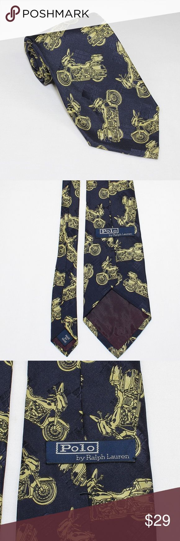 "Polo By Ralph Lauren Gold Motorcycle Silk Tie USA Description: Pre-owned, excellent condition. No rips, tares, or stains.  Length: 57 1/2"" (146cm) Width: 3 13/16"" (9cm)  Manufacture: Polo by Ralph Lauren. Made by Hand. Made in U.S.A. from imported fabric. 100% Silk. RN: 41381.  Item #: 273050280489 Polo by Ralph Lauren Accessories Ties"