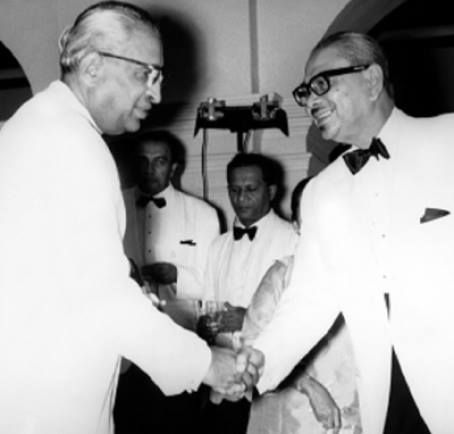 Prime Minister of Ceylon Dudley Senanayake meeting Tunku Abdul Rahman, first Prime Minister of independent Malaya (1957–63) and then of Malaysia in the latter's visit to Ceylon in February 1958. Photo Credits - http://dinmerican.wordpress.com/2013/04/05/regionalism-in-diplomacy/