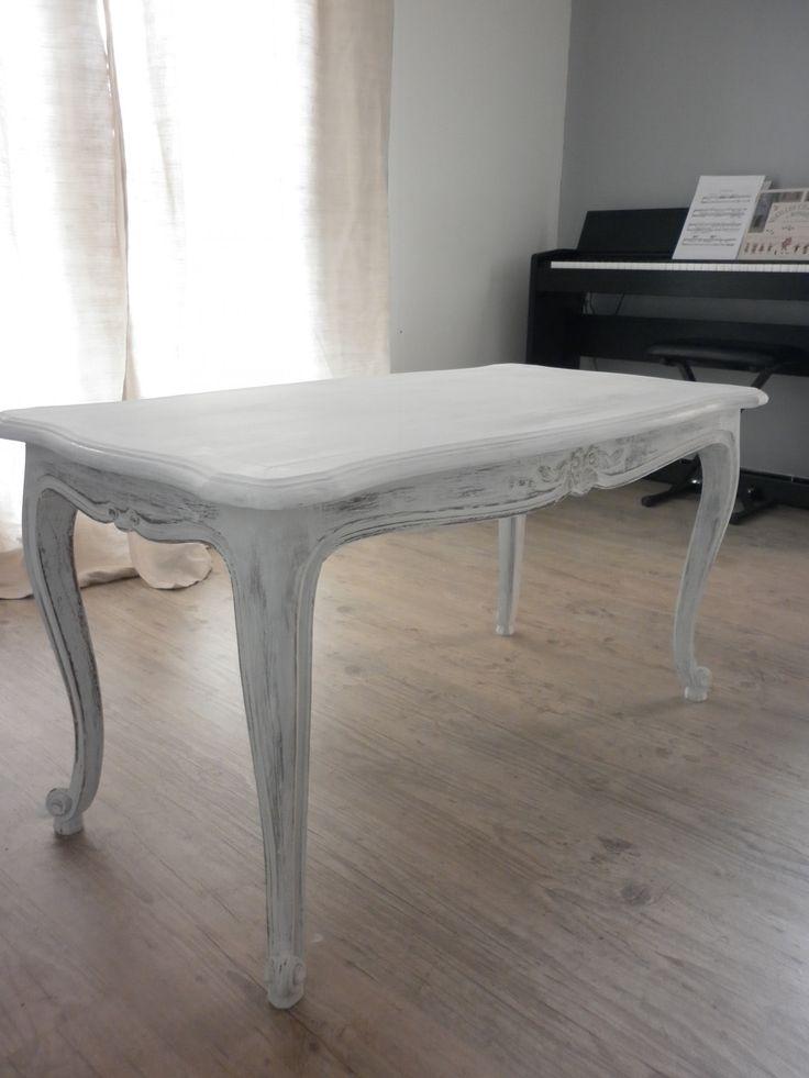 Table basse louis xv patin e soie gr ge meubles et - Meubles anciens peints patines ...