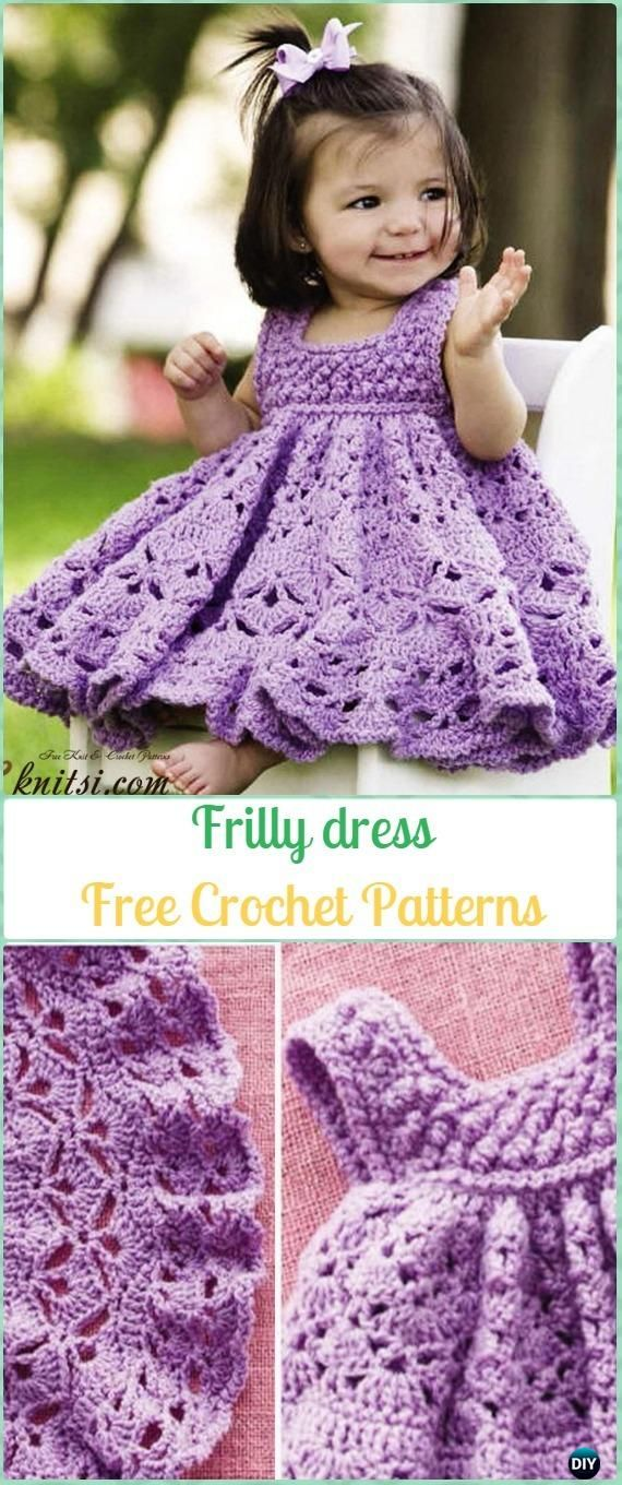 Crochet Frilly dress Free Pattern - Crochet Girls Dress Free Patterns